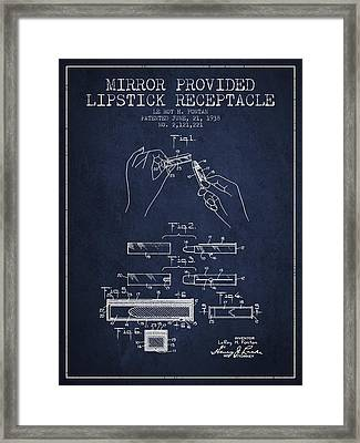 Lipstick Mirror Patent From 1938 - Navy Blue Framed Print by Aged Pixel