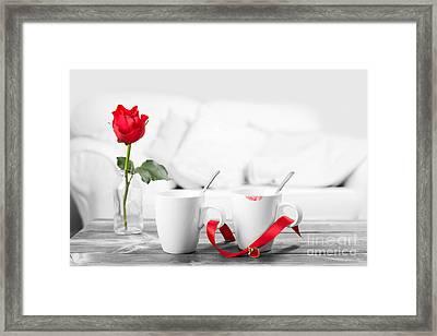 Lipstick On Coffee Cups Framed Print by Amanda Elwell