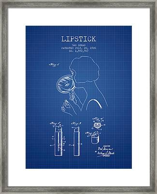 Lipstick Patent From 1926 - Blueprint Framed Print by Aged Pixel