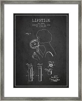 Lipstick Patent From 1926 - Charcoal Framed Print by Aged Pixel