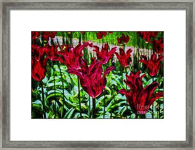 Lipstick Tulips Framed Print