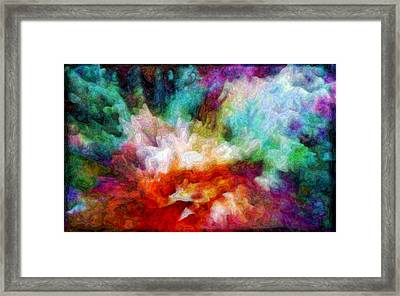 Framed Print featuring the digital art Liquid Colors - Enamel Edition by Lilia D