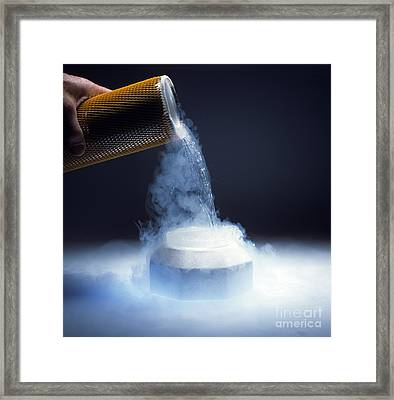 Liquid Nitrogen Being Poured Framed Print by Charles D Winters