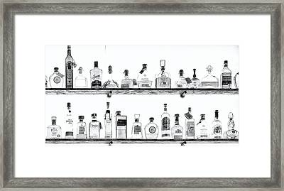 Liquor Bottles - Black And White Framed Print