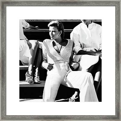 Lisa Taylor Wearing A John Anthony Sweater Framed Print by Albert Watson