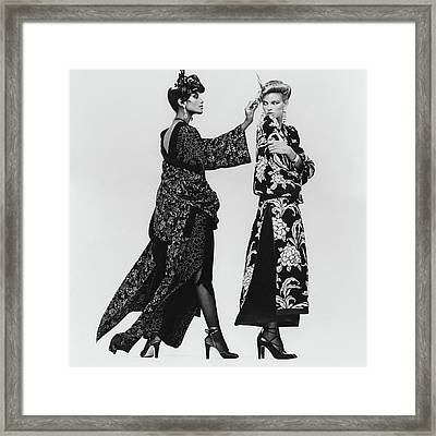 Lisa Taylor Wearing A Print Crepe De Chine Robe Framed Print