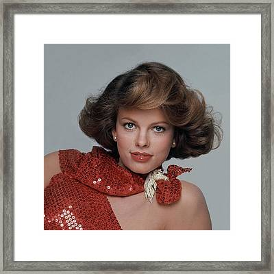 Lisa Taylor Wearing A Red Scarf Framed Print