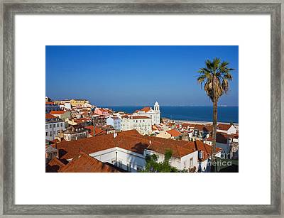 Lisbon Alfama Panoramic View Toward The River Framed Print by Kiril Stanchev