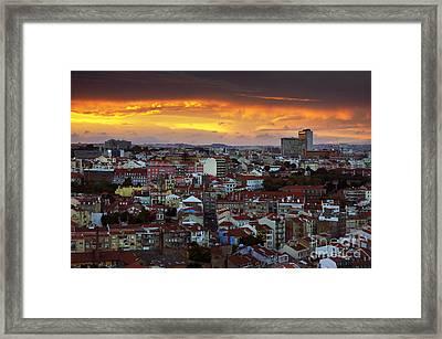 Lisbon At Sunset Framed Print