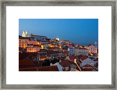 Lisbon City Lights Panoramic Alfama View Framed Print by Kiril Stanchev