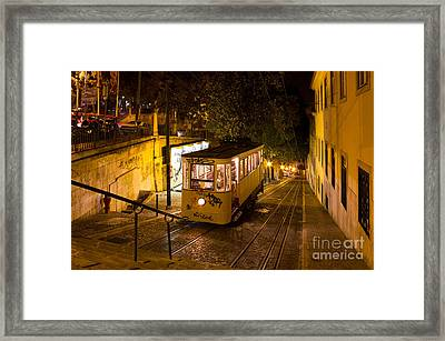 Lisbon Gloria Funicular Night Shot Framed Print by Kiril Stanchev
