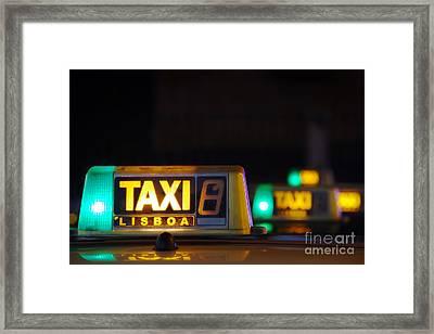 Lisbon Taxi Sign Framed Print