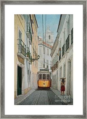 Lisbon Tram Framed Print by Carlos De Vasconcelos Tavares