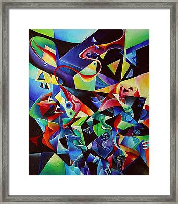 listening to piano concert op.42 of Arnold Schoenberg Framed Print by Wolfgang Schweizer