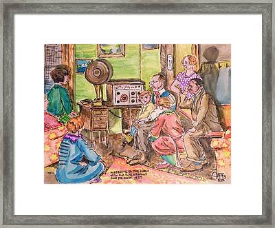 Listening To The Radio Framed Print