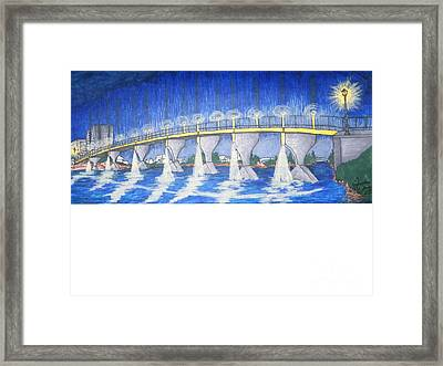 Lit Bridge Framed Print