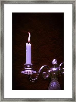 Lit Candle Framed Print by Amanda Elwell