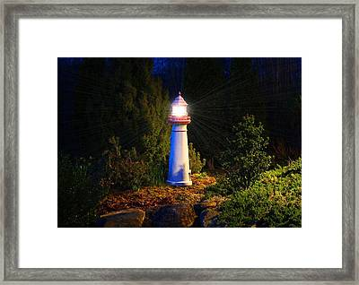 Lit-up Lighthouse Framed Print