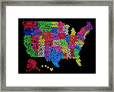 Lite Brited States Of America Framed Print by Benjamin Yeager