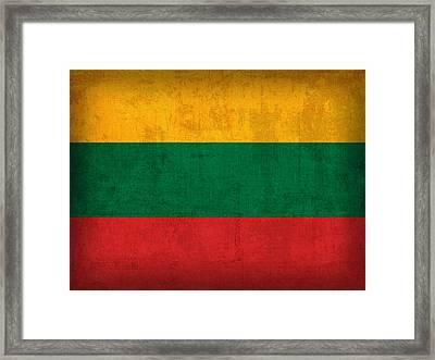 Lithuania Flag Vintage Distressed Finish Framed Print by Design Turnpike