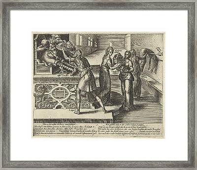Litigation Devours Money And Property, Hendrick Goltzius Framed Print by Hendrick Goltzius
