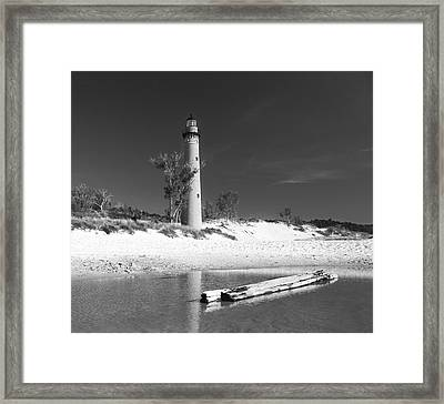 Framed Print featuring the photograph Litle Sable Light Station - Film Scan by Larry Carr