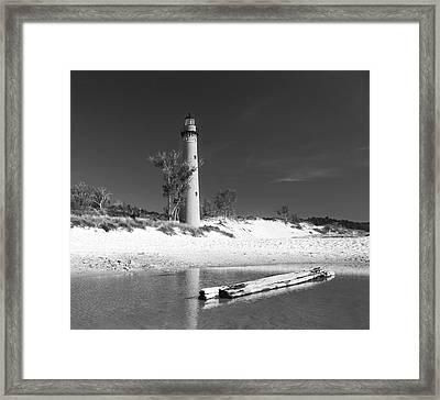 Litle Sable Light Station - Film Scan Framed Print by Larry Carr
