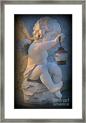 Little Angel With Lantern Framed Print by John Malone