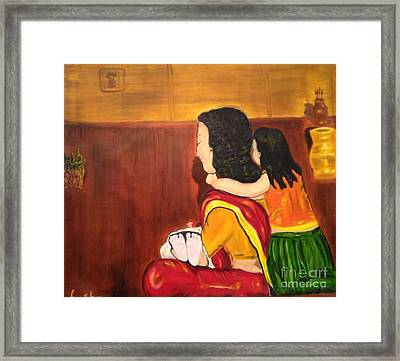Framed Print featuring the painting Little Arms And Tiny Toes by Brindha Naveen