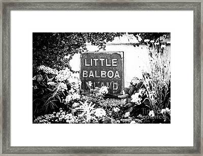 Little Balboa Island Sign Black And White Picture Framed Print by Paul Velgos