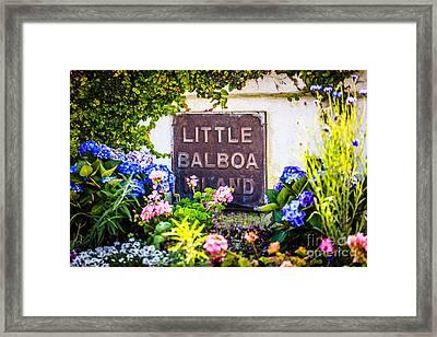 Little Balboa Island Sign In Newport Beach California Framed Print by Paul Velgos