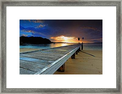 Little Beach Aglow Framed Print