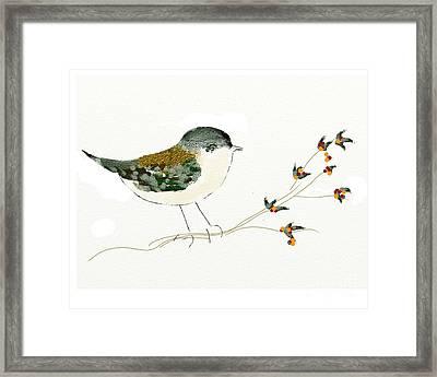Little Bird On A Branch Framed Print by Alexandra  Sanders