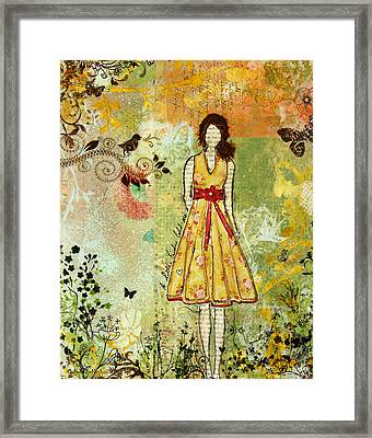 Little Birdie Inspirational Mixed Media Folk Art By Janelle Nichol Framed Print