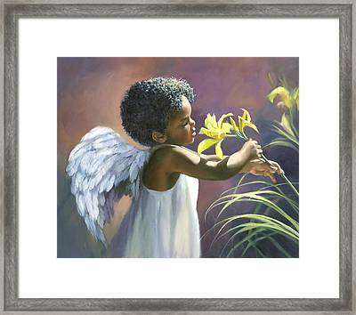 Little Black Angel Framed Print by Laurie Hein