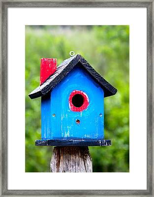 Little Blue Birdhouse Framed Print by Karon Melillo DeVega