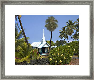 Little Blue Church Kona Framed Print by Kurt Van Wagner
