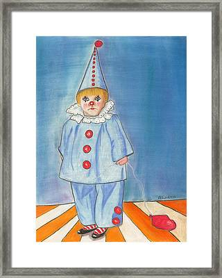 Framed Print featuring the painting Little Blue Clown by Arlene Crafton