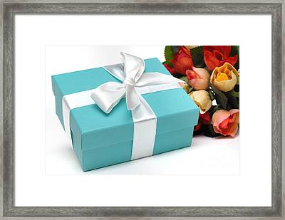 Little Blue Gift Box And Flowers Framed Print by Amy Cicconi
