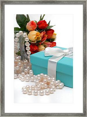 Little Blue Gift Box With Pearls And Flowers Framed Print