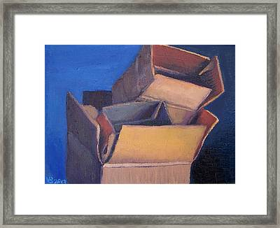 Little Boxes-red Yellow Blue Framed Print