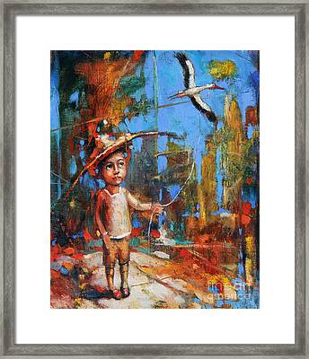 Little Boy And Kite Framed Print by Michal Kwarciak