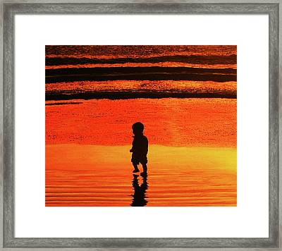 Little Boy At The Beach Framed Print