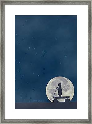 Little Boy Blue And The Man On The Moon Framed Print by Carrie Ann Grippo-Pike