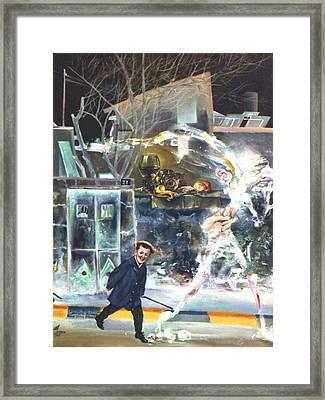 Little Boy Droving The Artist's Despair Down Zipori Street Framed Print by Nekoda  Singer