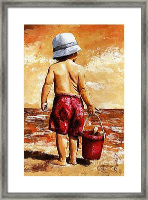 Little Boy On The Beach II Framed Print by Emerico Imre Toth