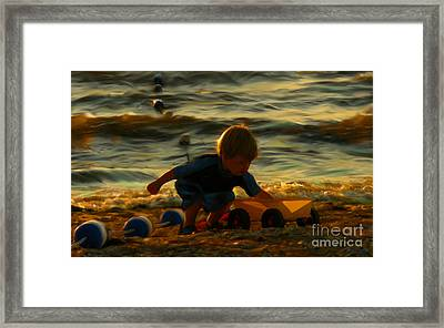 Little Boy On The Beach Framed Print by Jeff Breiman