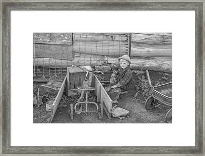 Little Boy Playing Framed Print