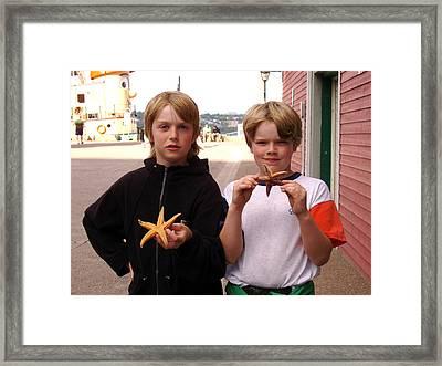 Little Boys At Halifax Harbour Framed Print by Brenda Anne Foskett