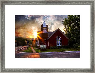 Little Brick Chapel Framed Print by Debra and Dave Vanderlaan